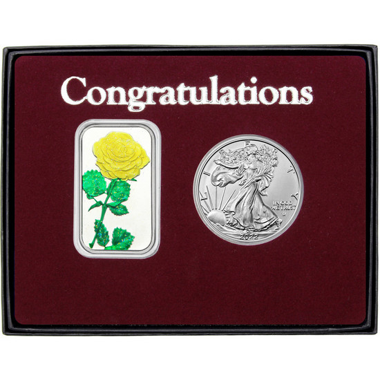 Congratulations Enameled Yellow Rose Silver Bar and Silver American Eagle 2pc Box Set
