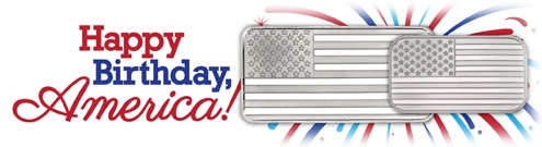 Happy Independence Day - Silver American Flag Bar Collection